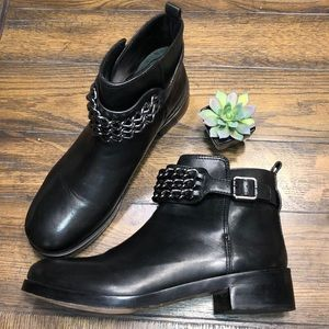 Tory Burch Bloomfield Chain Black Leather Bootie